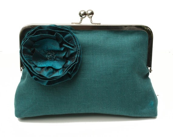 Bridesmaid Clutch - Teal Linen with Teal Silk Flower adorned with Swarovski Crystals