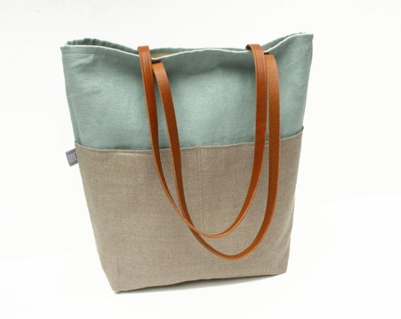 Large Tote Bag: Linen and Canvas with Large Front Pockets (SHIP READY)