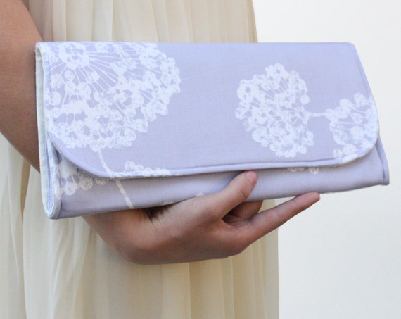 Purple Clutch with Dandelions for Wedding or Bridesmaids