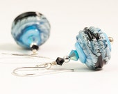 Blue Black Lampwork Earrings, Aqua Webbed Glass Earrings - Transparent Aqua Webs- DaviniaDesign