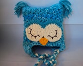 Teal & Cream Crochet Owl Hat for girl with earflaps and braided cord Customizable