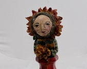FOLK ART Wooden Table Leg Flower Head DOLL