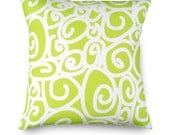 16 x 16 Lime Green White Swirl Pillow Cover - Contemporary Modern Throw Toss Accent Pillow Cover