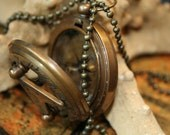 47 mm Antique Brass Big compass and Sundial Necklace