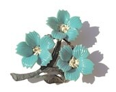 Vintage Plastic Brooch Powder Blue FLOWERS Early Era
