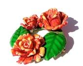 Vintage Plastic Flower Brooch Vintage Rose Brooch GERMANY Orange Red ROSES Molded Plastic Wood Wreath Leaves