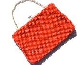 Vintage Beaded Handbag CHERRY Lipstick Red RETRO Clutch JAPAN Plastic Beads Gold Chain