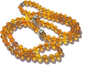 Vintage Rhinestone LUCITE Beaded Necklace AMBER Apple Juice Color Beaded Necklace Extra Long Glamour Holiday BLING
