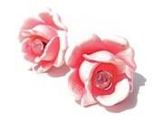 RESERVED Vintage Plastic ROSE Earrings SUPER Sized Dimensional Pink Roses Rhinestones