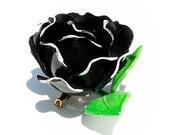 Vintage Flower Brooch Vintage PLASTIC Rose Brooch GERMANY Black & White Ruffled DIMENSIONAL