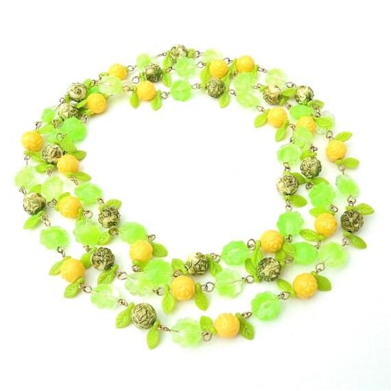 Vintage Fruit Salad LUCITE Necklace or Vintage Plastic Necklace Beaded Necklace Flowers Lemon LIme