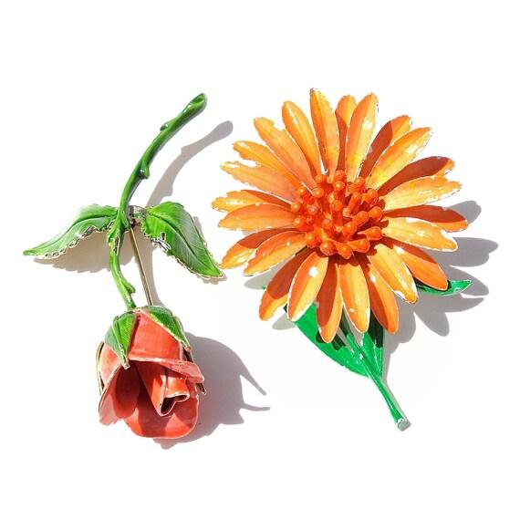 Vintage Enamel Flower Brooch Pair ORANGE Citrus Enamel Daisy Enamel Rose Brooches 1960s 1970s Flower Brooch Pair SPRING Flowers