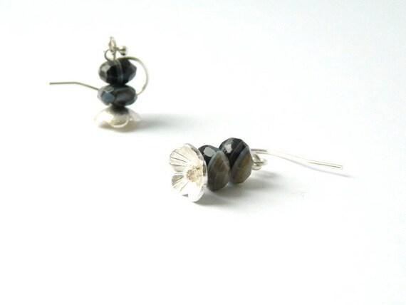 black banded agate sterling flower earrings