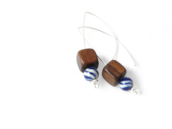 summer earrings with blue swirl bead, wood and silver.  simple, minimal, crisp style