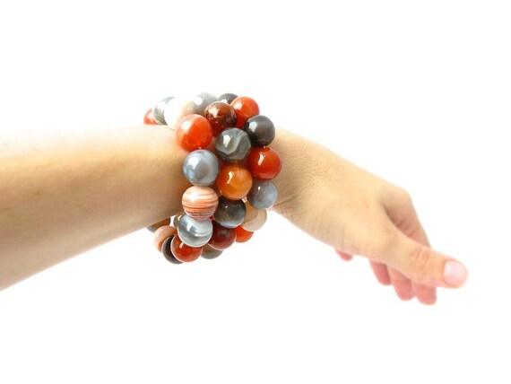 orange and gray bracelet featuring genuine persion agate gemstones