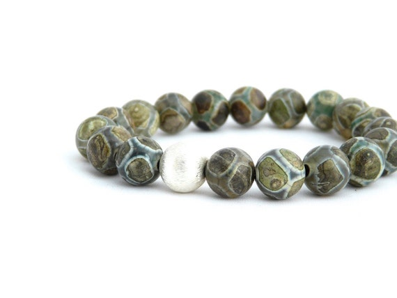 green tibetan agate stretch bracelet with grey, teal, khaki and brown. yoga bracelet. woodland. natural. outdoorsy. gift for her.