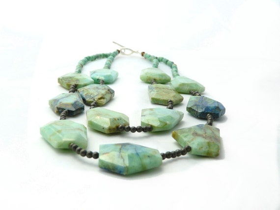 TROPIC. azurite cockatoo green two strand necklace with pyrite and chrysophrase