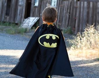 Batman Superhero cape - Black and Yellow - Size MEDIUM