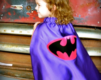 Super Hero Cape - Batgirl - Black and Hot Pink/Purple - Size LARGE (Child 6-10 years)