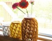 Mason Jar Wedding Centerpieces - Wedding Decorations - Lace Knit Mason Jar Candle Holders / Flower Vases - Set of 3