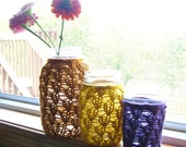 Mason Jar Wedding Decorations - Lace Knit - Flowers / Candles - Set of 3 - Honey, Mustard, and Dusty Purple - Jars Not Included