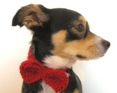 The Bow Tie Collar - Dogs or Cats - Wool Blend - Bright Red - meganEsass