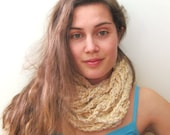 Crochet Infinity Scarf - Crochet Strands Cowl - The Skinny Loops Cowl - Organic Cotton - Beige & Ivory