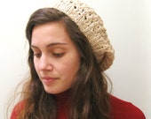 Knitted Hat - Slouchy Hat - The Lace Slouch Hat - Merino Cashmere - Parchment / Creamy Tan