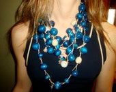 Handmade Long Blue nautical or multicolor statement necklace