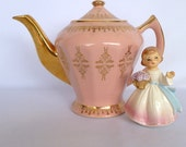 Vintage Pink and Gold Leaf Teapot by Hall