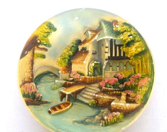 VINTAGE CHALKWARE PLATE by E. W. Usher
