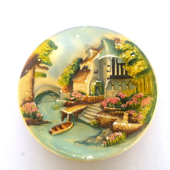 Vintage Chalkware Plate By E W Usher