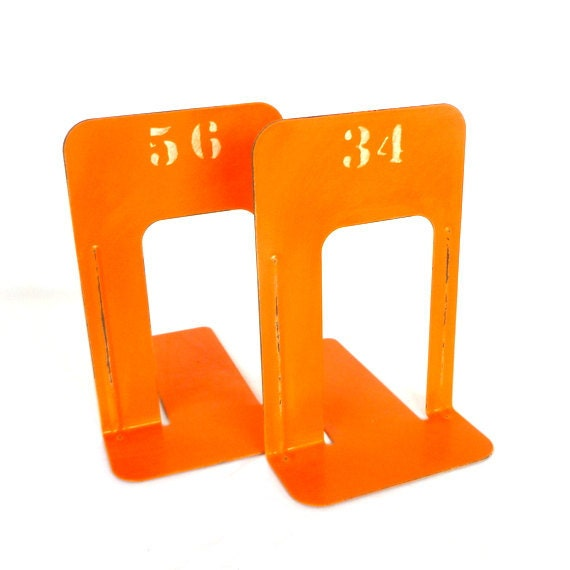 Large ORANGE INDUSTRIAL Style BOOKENDS