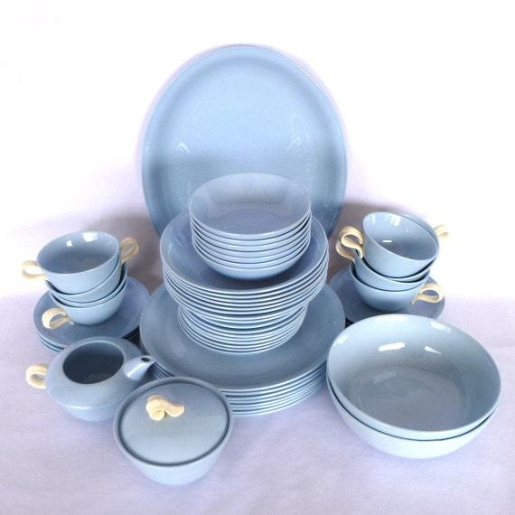 Rare Complete set of 8 Vintage HOMER LAUGHLIN SKYTONE Dinnerware