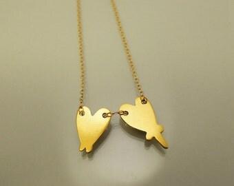 Love necklace brass on chain / collier Love laiton sur chaîne