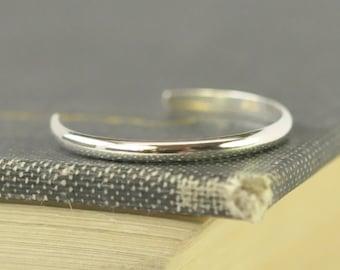 Sterling Silver Toe Ring, Adjustable Half Round Toe Ring, Kristin Noel Designs