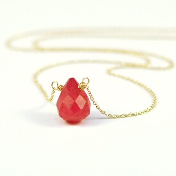 items similar to bright cabaret pink gemstone necklace