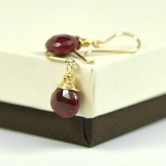 JULY Birthstone-Ruby Earrings in 14K Yellow Gold Fill, Red Stone Wire Wrapped, Natural India Rubies, Kristin Noel Designs