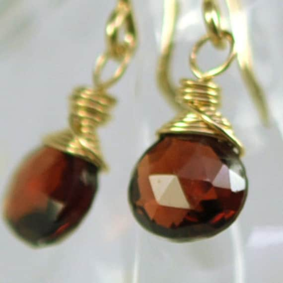 Red Garnet Earrings, 14K Yellow Gold fill Wire Wrapped, Red Gemstone, Small Dainty, Kristin Noel Designs