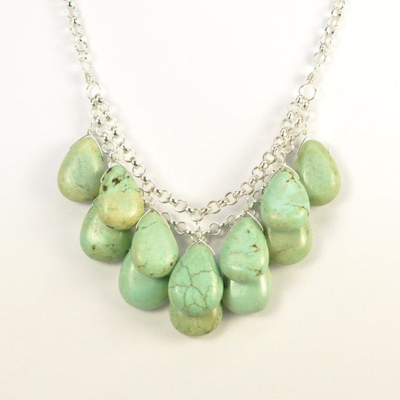 Mint Green Necklace, Statement, Wire Wrap Stones, Layered, Bib Style, Glamorous Night Out, Sterling Silver,  Turquoise, Kristin Noel Designs