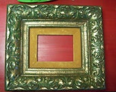 Vintage Gold Picture Frame (best guess: early 20th century), heavy wood with nice patina