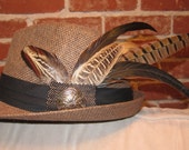 Brown unique fedora hat with long feathers & metal detail - Large