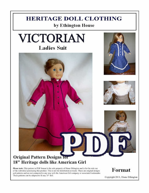 Victorian 3 Piece Ladies Suit - Skirt, Blouse, Jacket - Pattern for 18 inch or American Girl Dolls - INSTANT DOWNLOAD
