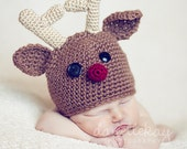 Newborn Rudolph the Red Nose Reindeer hat - Photography Prop