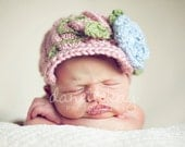 Newborn Brimmed Visor Newsboy beanie cap hat with flower - Photography Prop