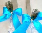 Peacock  Wedding Cake Serving Set, Caribbean Blue, Malibu Blue