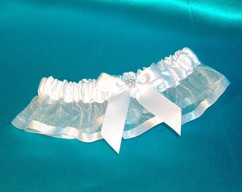 Wedding Garter in White Organza With White Satin Bow and Pearl Rhinestone Center