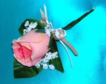 Rose Bud Boutonniere in Salmon Peachy Pinkish Color