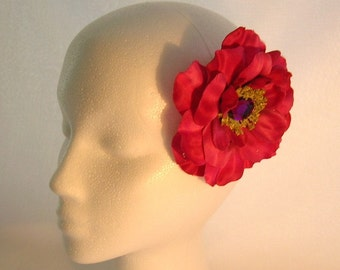 50% OFF, Last One, Full Bloom Rose Hair Clip in Deep Rose/Magenta  With a Sparkly Center