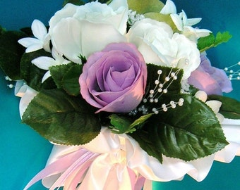 50% OFF, Last One,  Bridal Bouquet With Ivory and Lilac Rose Buds, Stephanotis and Pearl Sprays